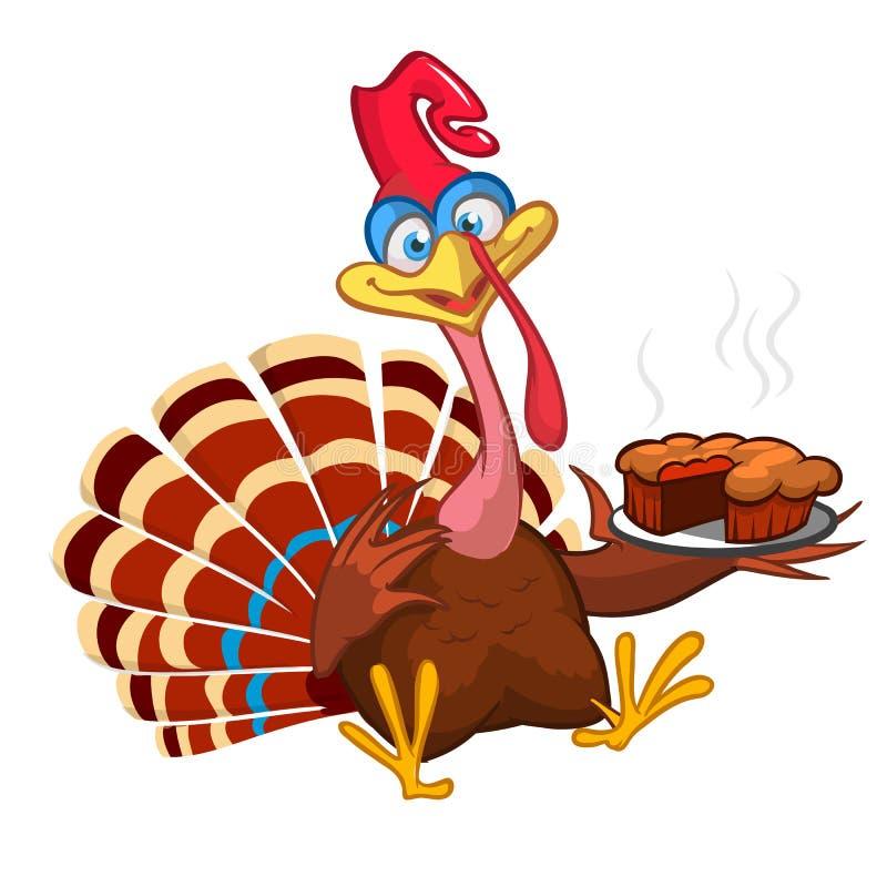 Поздравительная открытка птицы Турции шаржа благодарения Иллюстрация вектора смешного clipart характера индюка иллюстрация штока