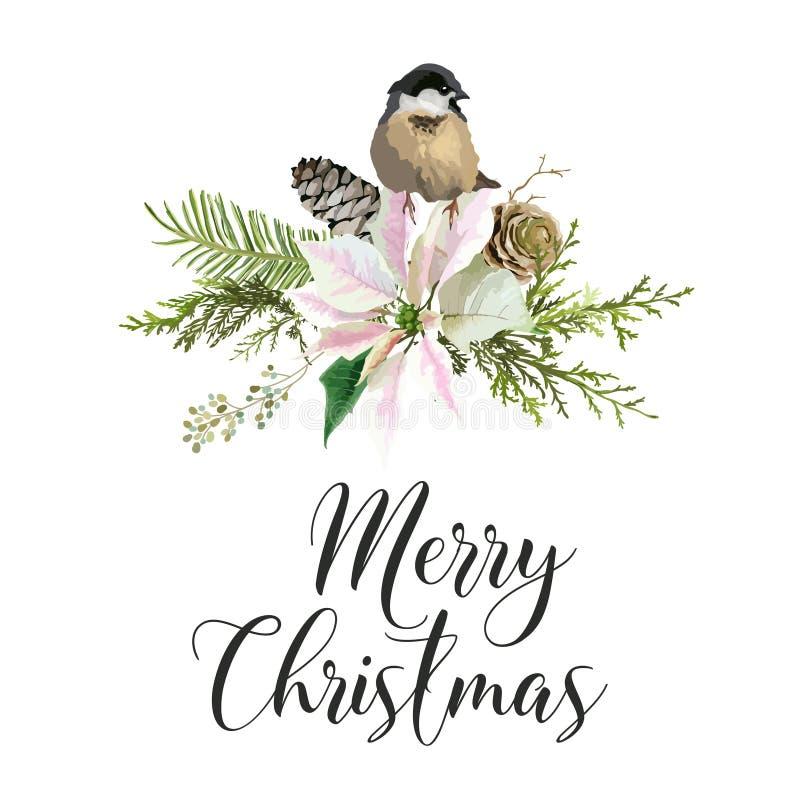 Поздравительная открытка птиц рождества зимы Предпосылка флористического Poinsettia ретро Шаблон дизайна для торжества курортного иллюстрация штока