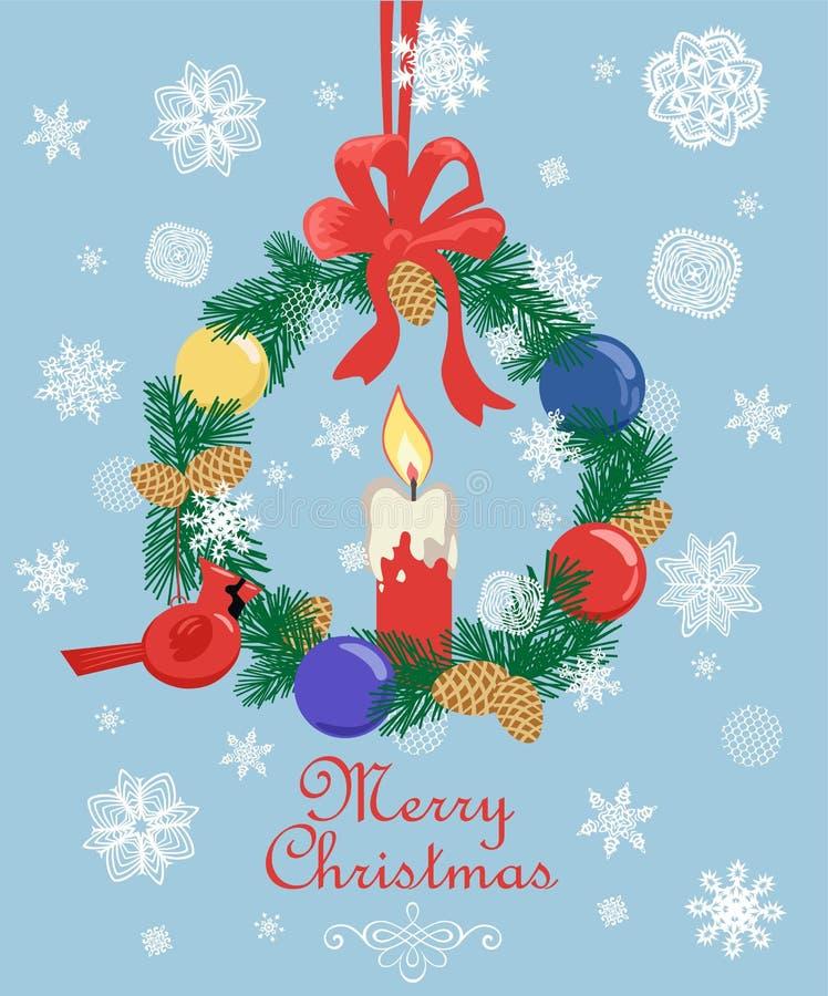 Поздравительная открытка ретро рождества пастельная с отрезка венком ели бумаги вне, конусом ели, снежинками, игрушкой птицы смер иллюстрация вектора