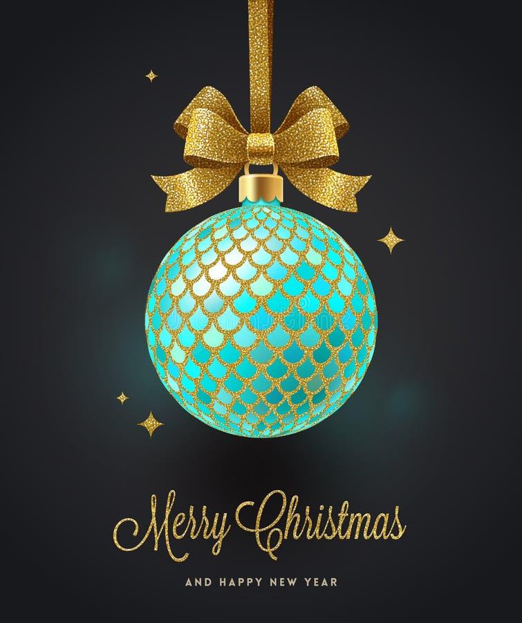 Поздравительная открытка рождества - богато украшенный шарик рождества с смычком золота яркого блеска бесплатная иллюстрация