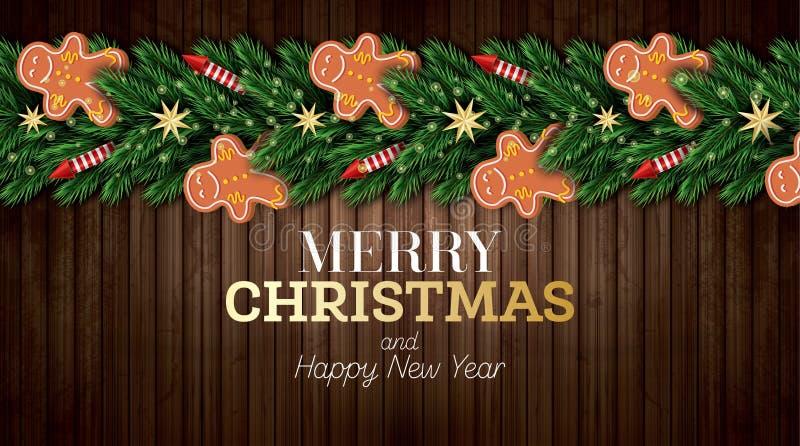 Поздравительная открытка рождества с ветвями рождественской елки, красными Ракетами и человеком пряника на деревянной предпосылке иллюстрация вектора