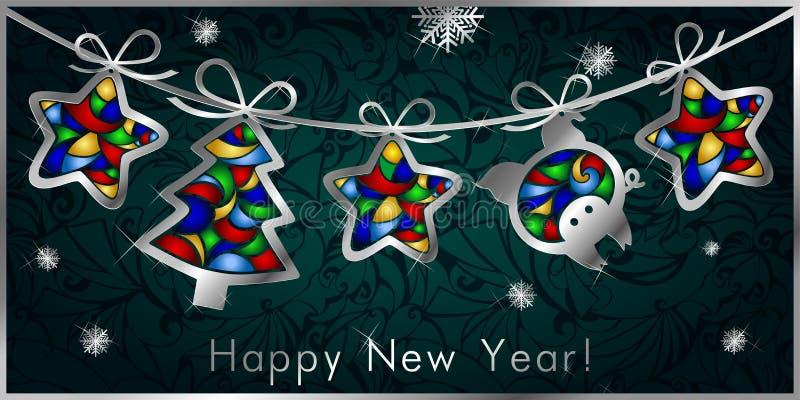 Поздравительная открытка рождества с гирляндой, серебряные диаграммы рождественских елок, звезды и свинья иллюстрация вектора