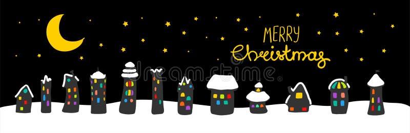 Поздравительная открытка рождества с домами на ноче иллюстрация штока