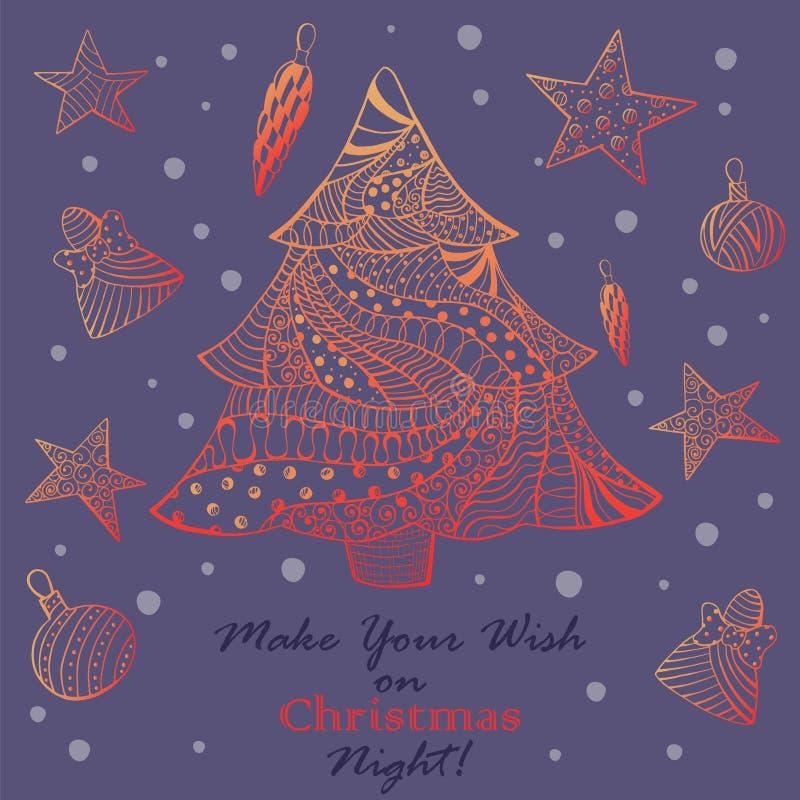 Поздравительная открытка рождества с елью Ornated иллюстрация штока