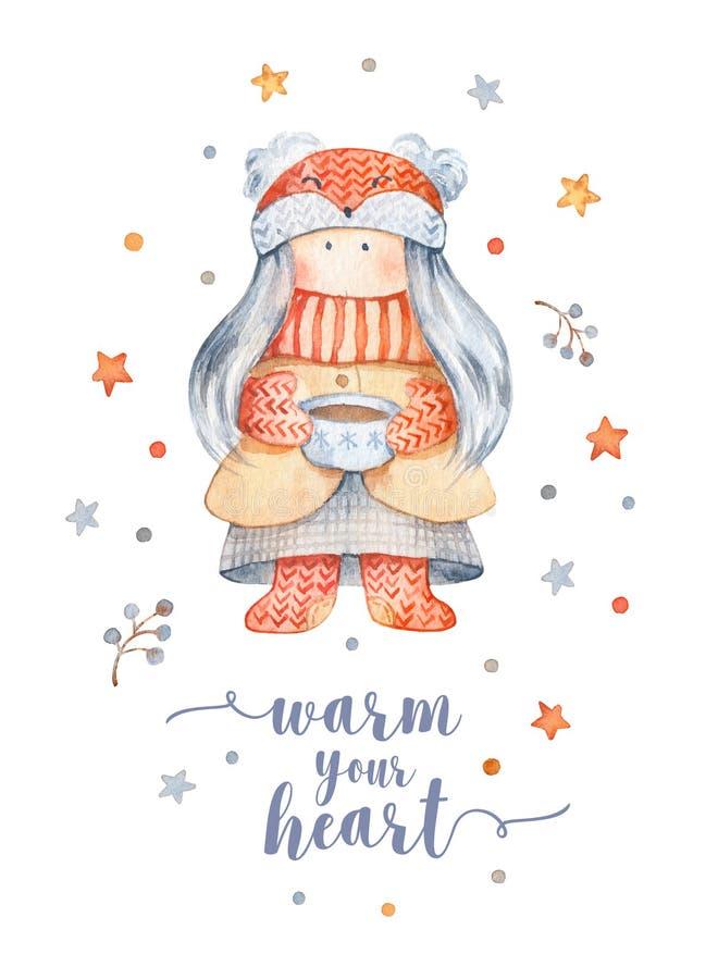 Поздравительная открытка рождества с милым персонажем из мультфильма - маленьким gir иллюстрация вектора