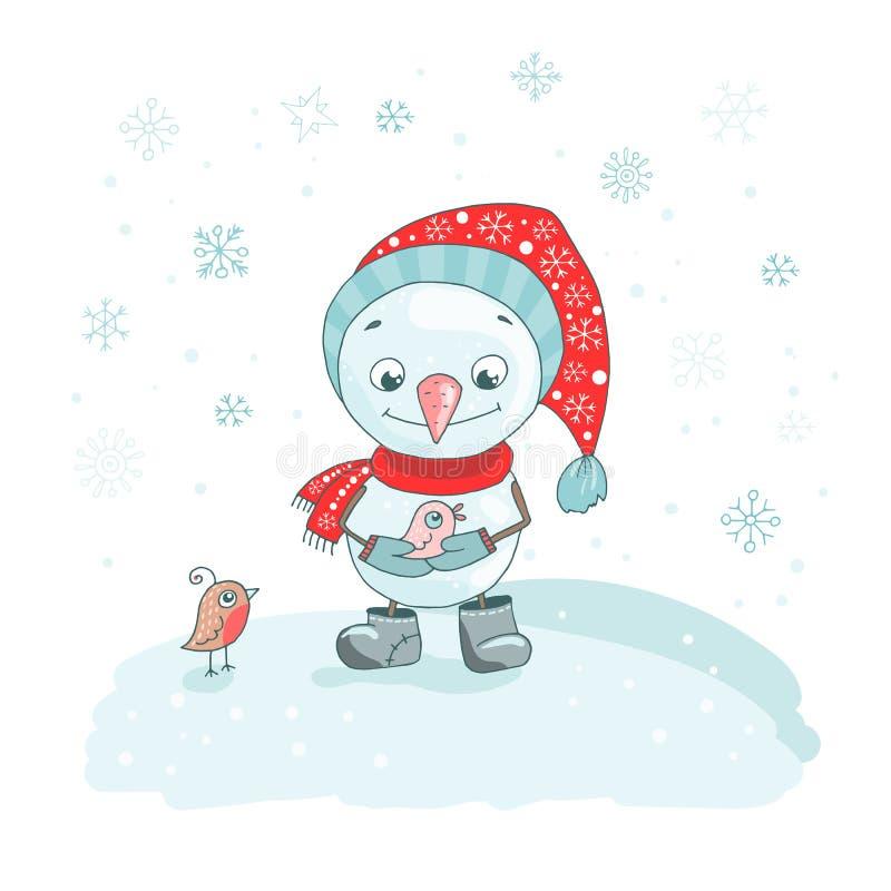 Поздравительная открытка рождества с милым снеговиком, птицами и снежинками бесплатная иллюстрация