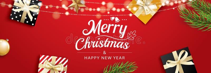 Поздравительная открытка рождества с подарочными коробками на красной предпосылке Польза для плакатов, крышка, знамя бесплатная иллюстрация