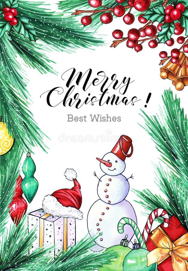Поздравительная открытка руки снеговика вычерченная иллюстрация вектора