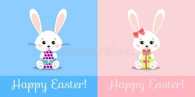 Поздравительная открытка со сладкими белыми кроликами мальчиком пасхи и яйцом подарка удерживания девушки бесплатная иллюстрация