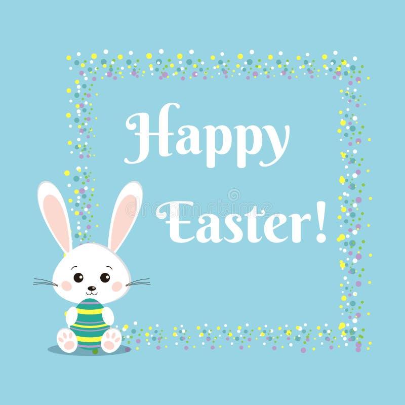 Поздравительная открытка со сладким белым кроликом зайчика пасхи с пасхальным яйцом цвета иллюстрация вектора