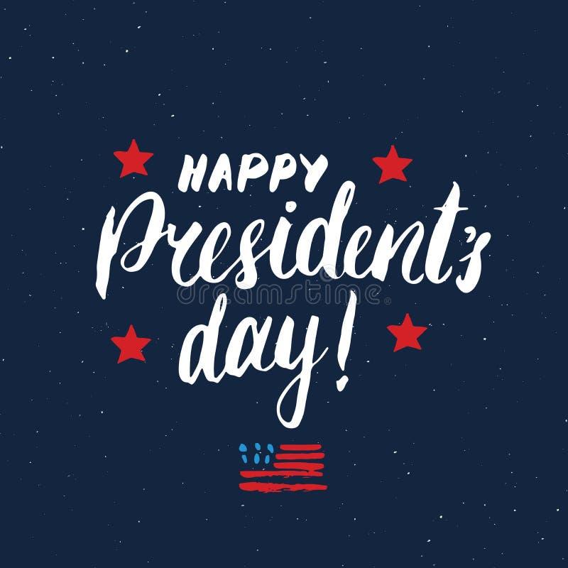 Поздравительная открытка США счастливого дня ` s президента винтажная, торжество Соединенных Штатов Америки Литерность руки, амер иллюстрация штока