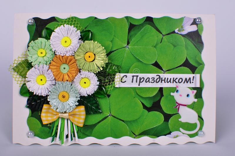 Поздравительная открытка с букетом стоцветов и котенка стоковая фотография rf