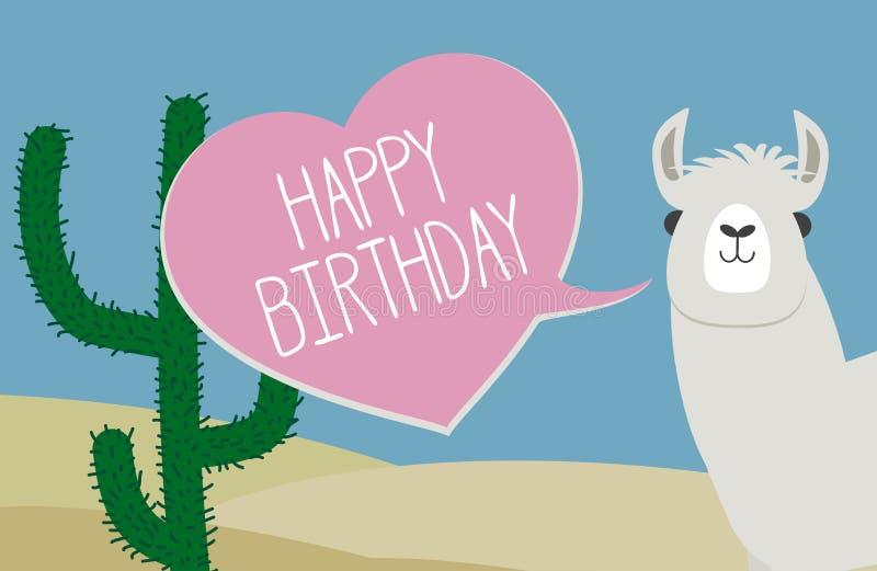 Поздравительная открытка с днем рождений с пузырем ламы и речи сердца форменным бесплатная иллюстрация