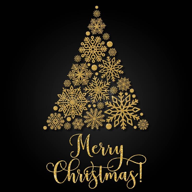 Поздравительная открытка с золотым текстом и абстрактной рождественской елкой на черной предпосылке иллюстрация вектора
