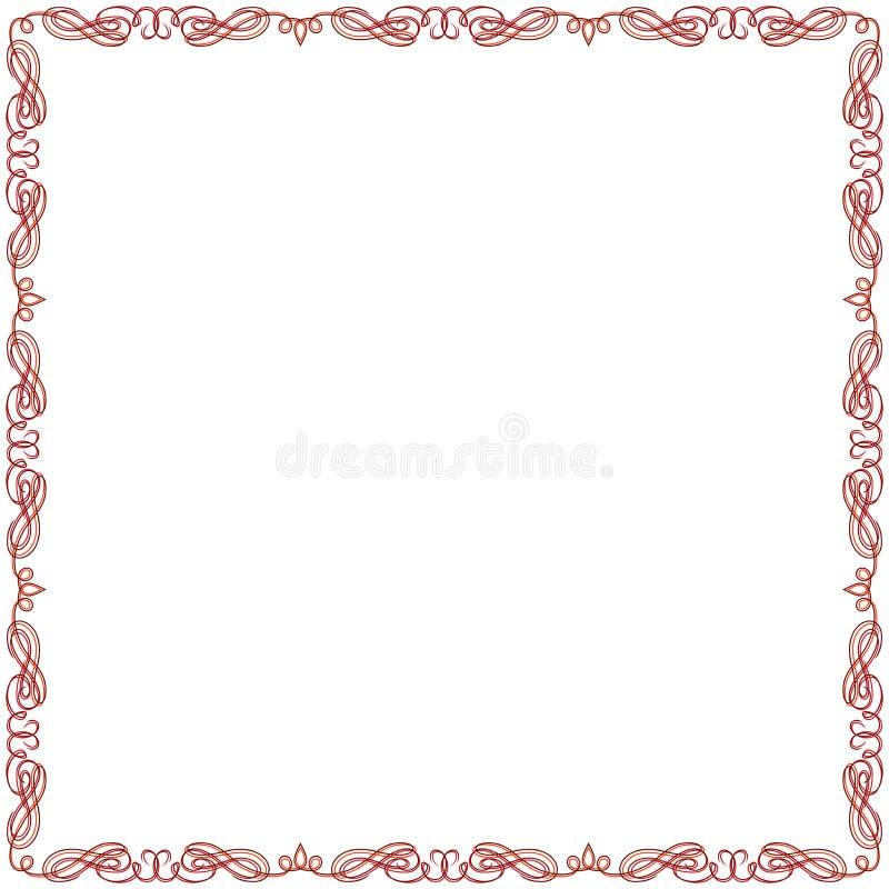 Поздравительная открытка с красной рамкой свирли бесплатная иллюстрация