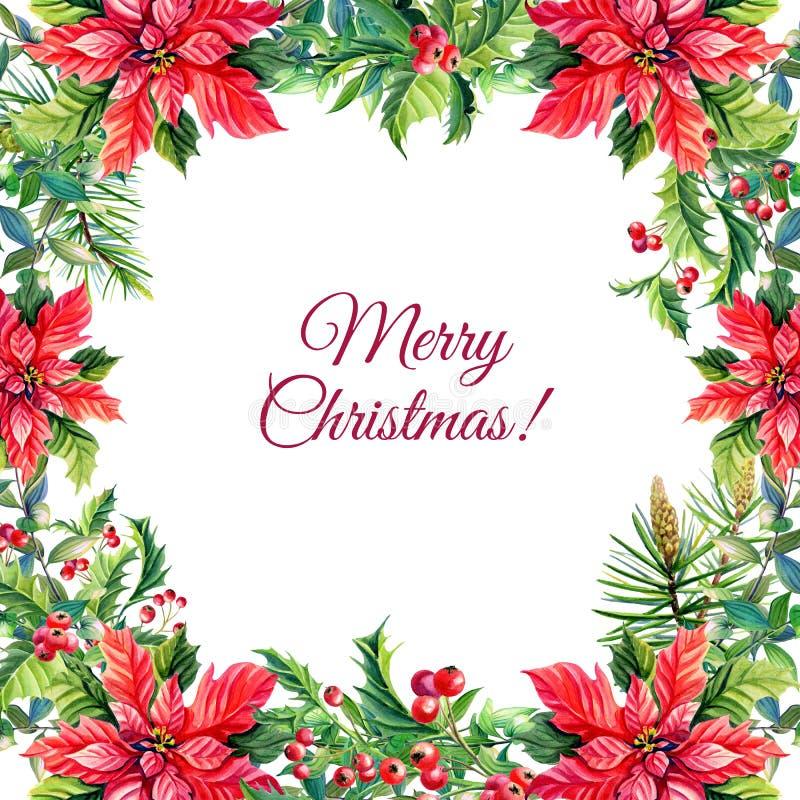 Поздравительная открытка с красными цветками poinsettia, падуб веселого рождества и Нового Года акварели, бесплатная иллюстрация
