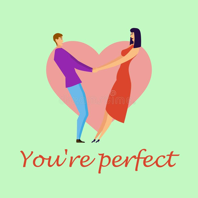 Поздравительная открытка с любовниками Характеры молодых людей и женщин иллюстрация вектора
