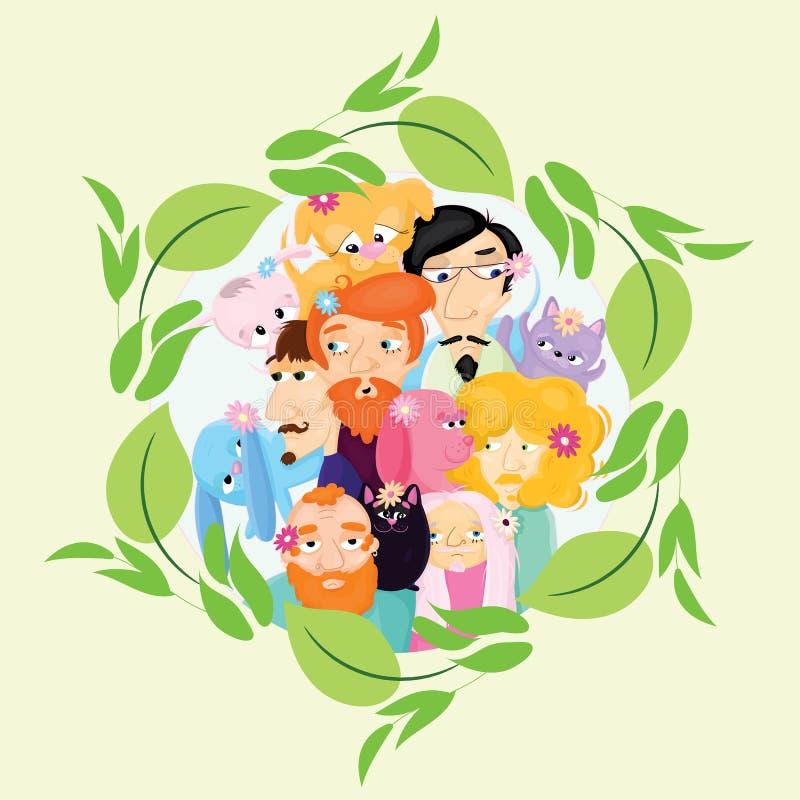 Поздравительная открытка с людьми и их любимцами иллюстрация штока