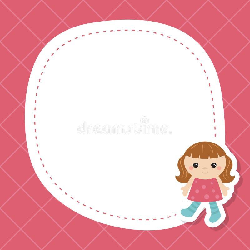 Поздравительная открытка с милой куклой иллюстрация вектора