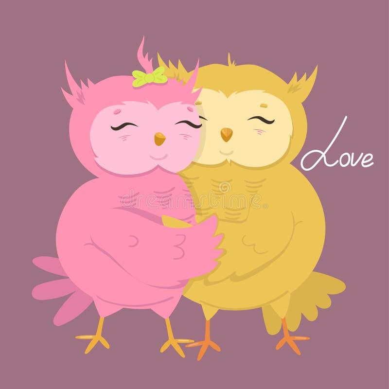 Поздравительная открытка с милыми сычами в любов r иллюстрация вектора