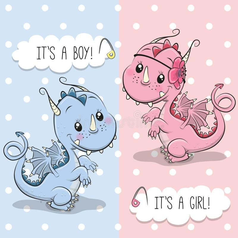 Поздравительная открытка с милым драконом иллюстрация штока