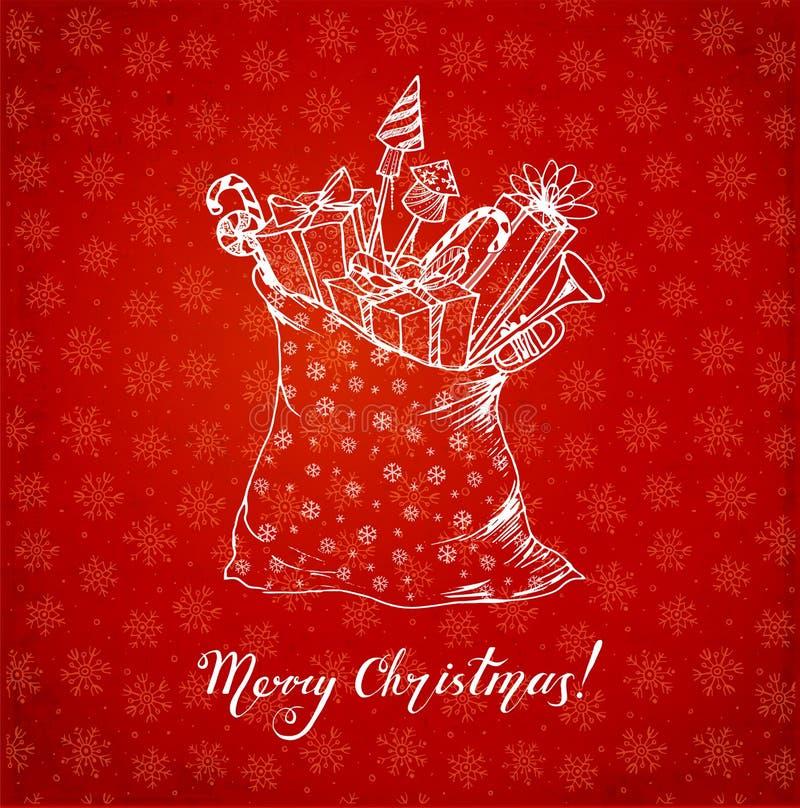Поздравительная открытка с подарками рождества вручает вычерченное в схематичном стиле на красной предпосылке с снежинками также  бесплатная иллюстрация