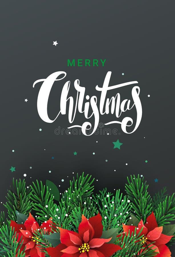 Поздравительная открытка с рождественской елкой и Poinsettia иллюстрация вектора