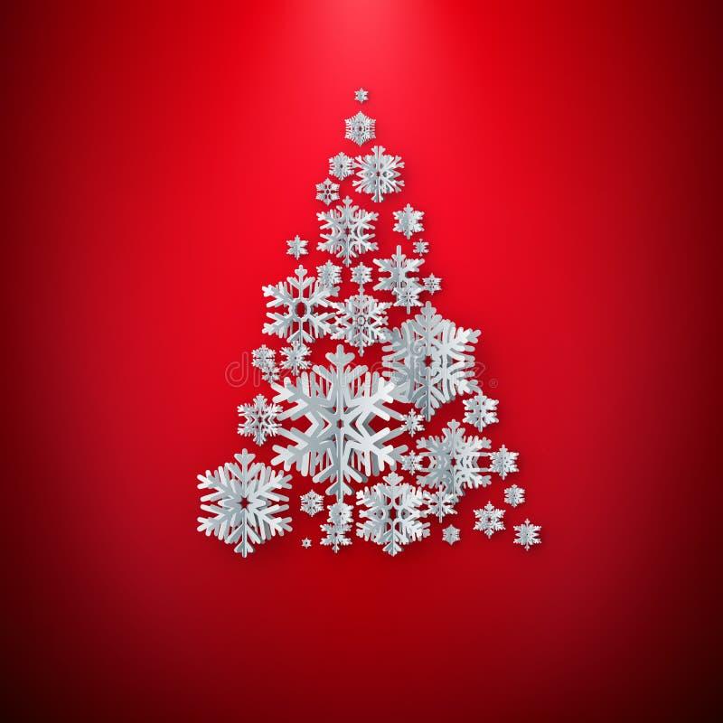 Поздравительная открытка с Рождеством Христовым Дерево хлопь снега отрезка белой бумаги счастливое Новый Год Предпосылка снежинок бесплатная иллюстрация