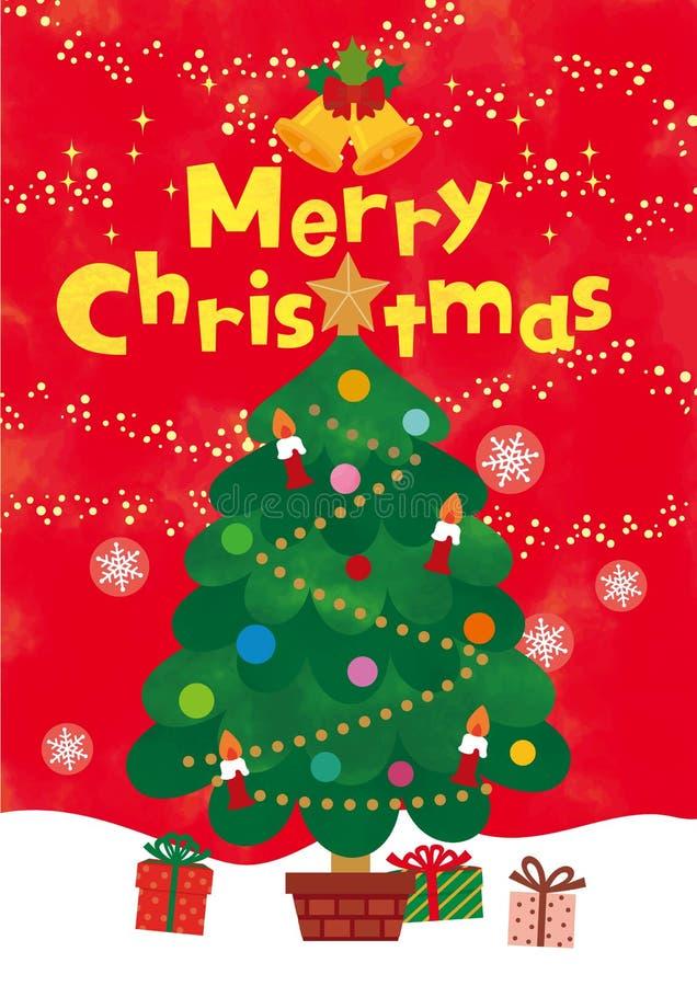 Поздравительная открытка с с Рождеством Христовым Красная предпосылка Светить и снежинка золота Плоский дизайн также вектор иллюс иллюстрация штока