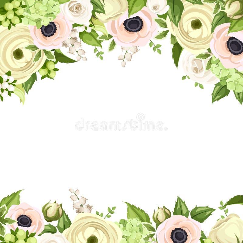 Поздравительная открытка с розовыми и белыми цветками Вектор EPS-10 иллюстрация штока
