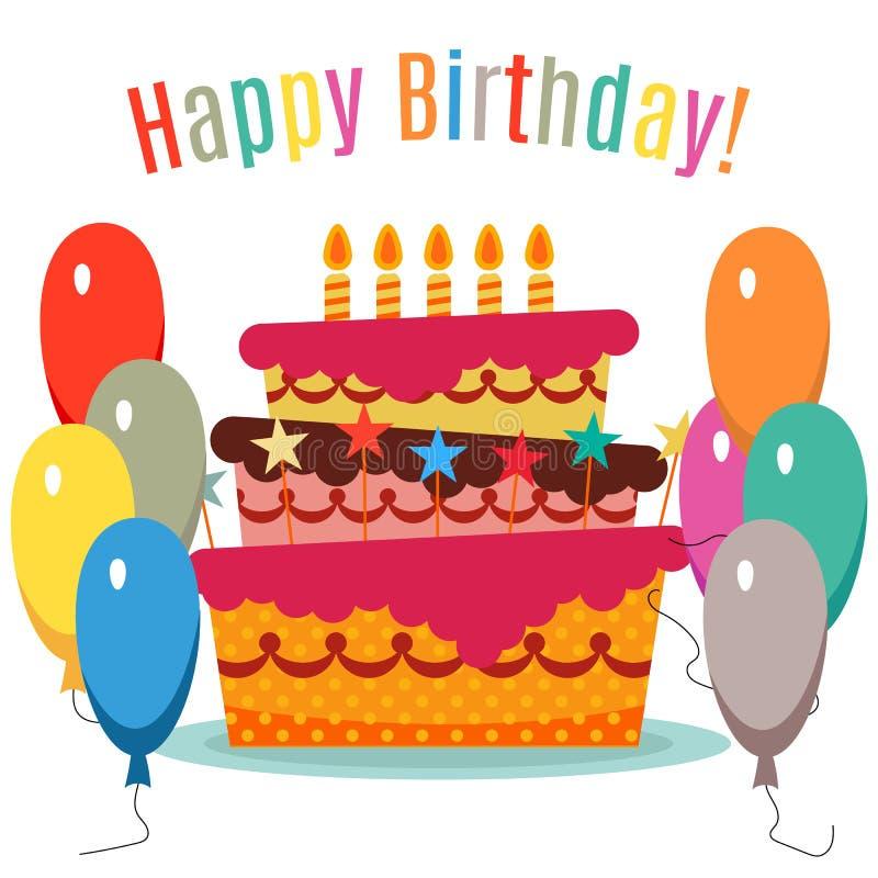 Поздравительная открытка с сладостным тортом для торжества дня рождения бесплатная иллюстрация