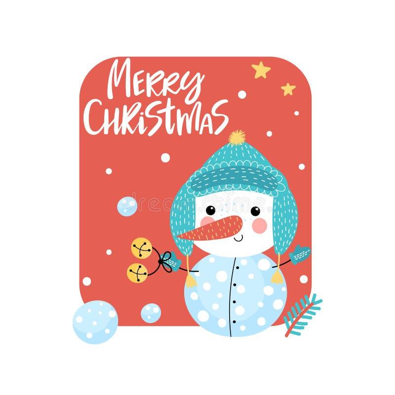 Поздравительная открытка с смешным снеговиком бесплатная иллюстрация