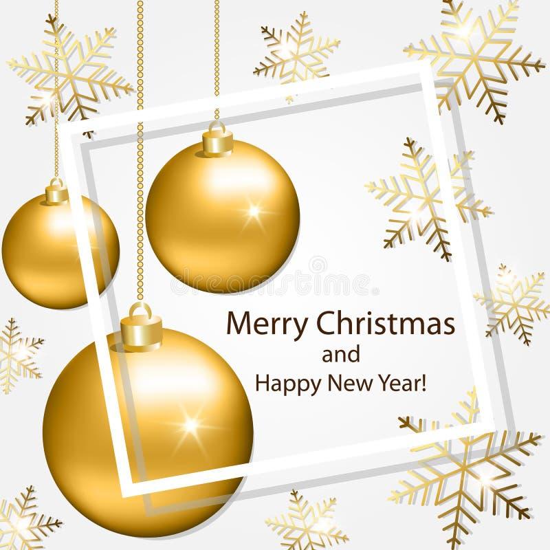 Поздравительная открытка с снежинками и шариками рождества стоковое изображение rf