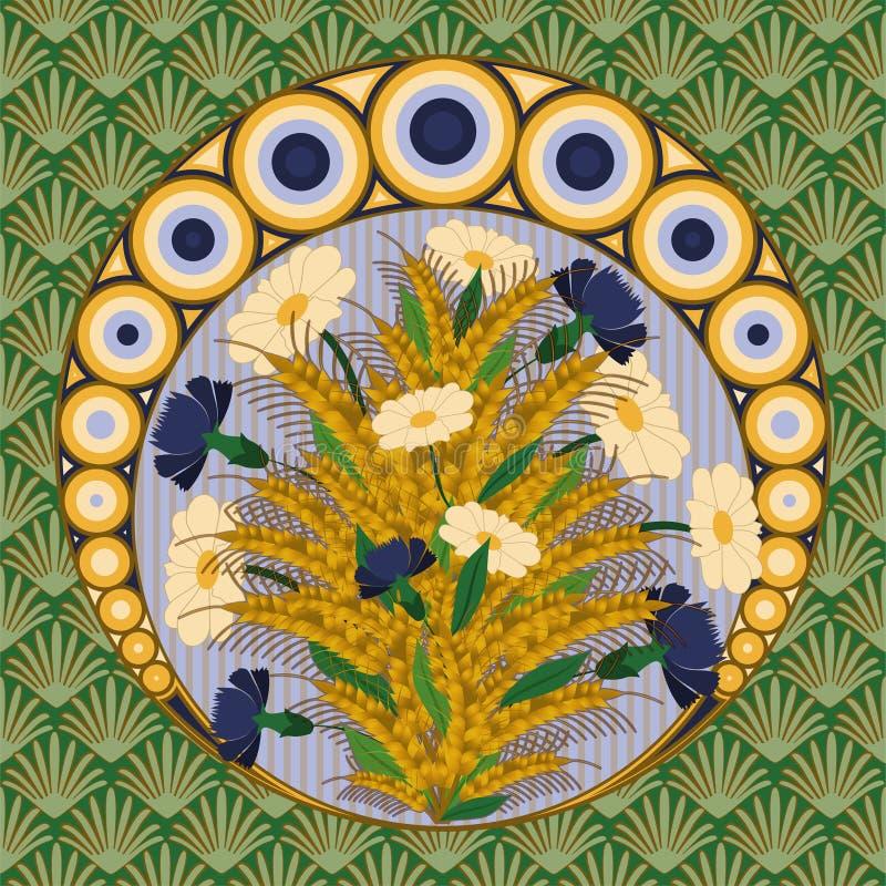 Поздравительная открытка с стоцветом и cornflower в стиле nouveau искусства, иллюстрация вектора