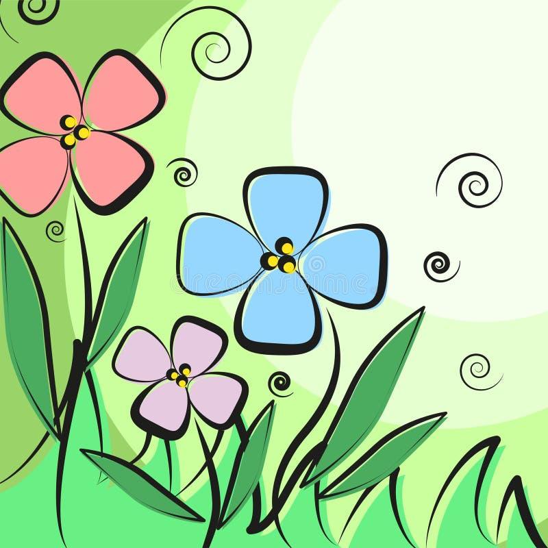 Поздравительная открытка с цветками для поздравлений и местом для текста бесплатная иллюстрация
