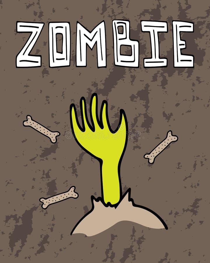 Поздравительная открытка хеллоуина с рукой зомби и нарисованной вручную литерностью иллюстрация вектора