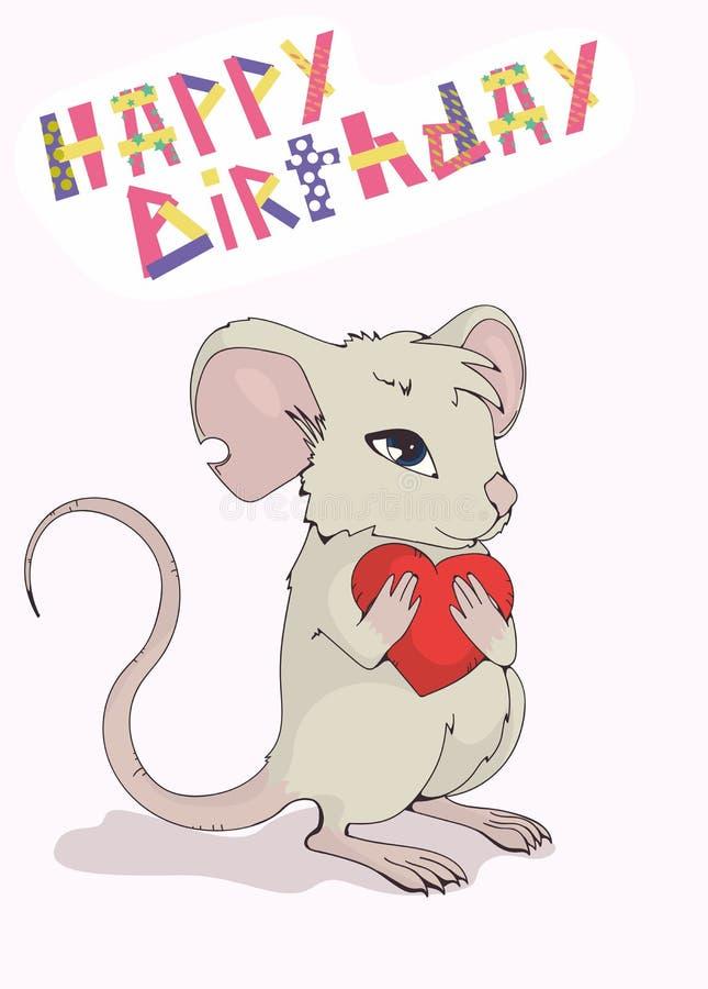 """Поздравительная открытка """"с днем рождения """" Милая мышь давая любовь и сердце иллюстрация штока"""