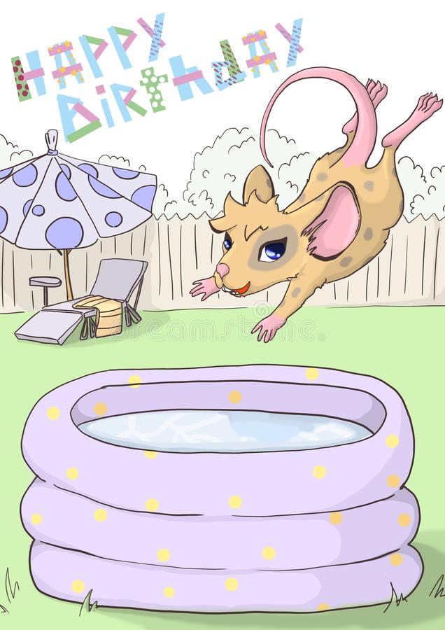 """Поздравительная открытка """"с днем рождения """" Мышь скачет в раздувной бассейн иллюстрация вектора"""