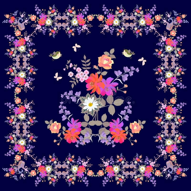 Поздравительная открытка, bandana или pillowcase с орнаментальной флористической рамкой Пейсли, букеты цветков сада, бабочки и пт иллюстрация вектора