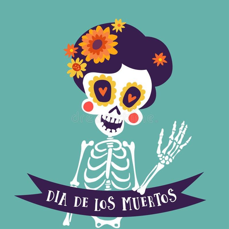 Поздравительная открытка Dia de Лос Muertos, приглашение Мексиканский день умерших Каркасная женщина с цветками и знаменем ленты бесплатная иллюстрация