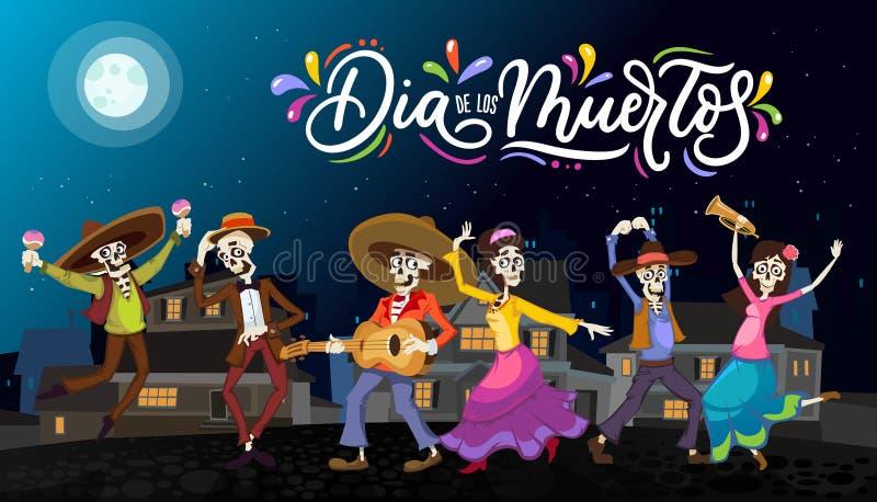 Поздравительная открытка Dia de los Muertos на день умерших Приветствие v иллюстрация вектора