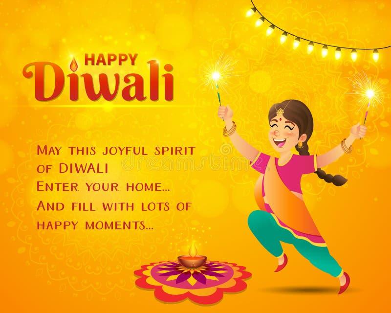 Поздравительная открытка Diwali с детьми мультфильма индийскими иллюстрация штока