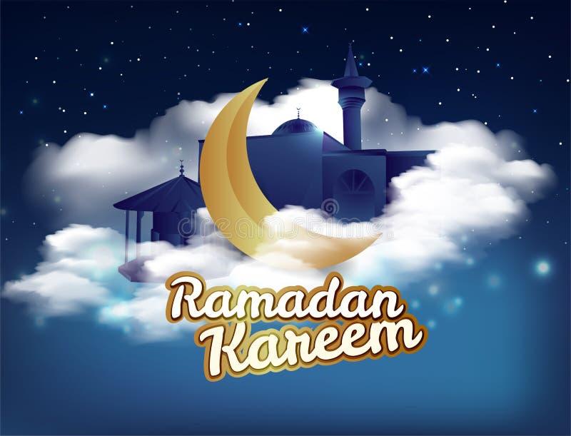 """Поздравительная открытка kareem Рамазан, украшенная с помечать буквами """"Рамазан Kareem """"на мечети и золотом серповидном изображен иллюстрация штока"""