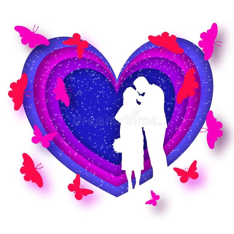 Поздравительная открытка Origami на день Валентайн Новобрачные целуют, на предпосылке сердца и бабочек летая иллюстрация вектора