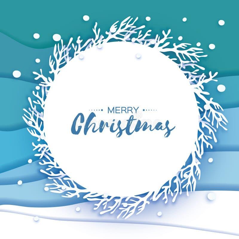 Поздравительная открытка Origami с Рождеством Христовым Хлопь снега отрезка бумаги счастливое Новый Год Предпосылка снежинок зимы иллюстрация вектора