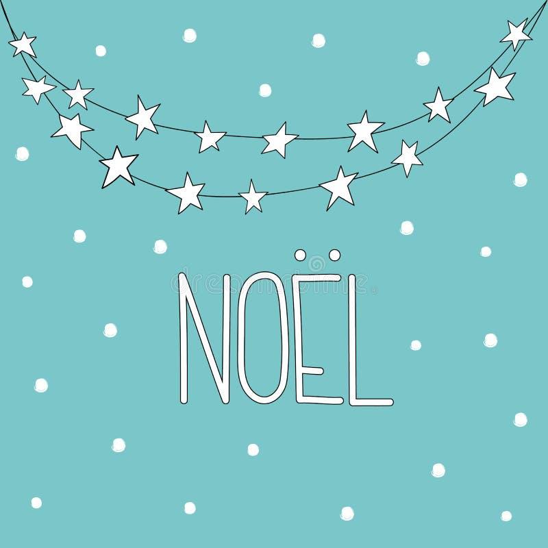 Поздравительная открытка Xmas вычерченного doodle руки схематичная Рука помечая буквами рождество Noel во французской гирлянде со бесплатная иллюстрация