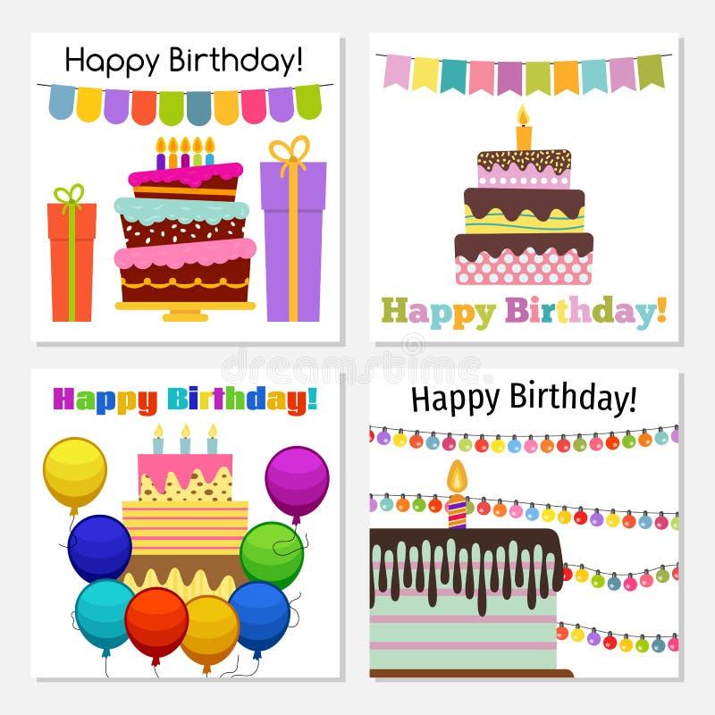 4 поздравительной открытки со сладким тортом для дня рождения бесплатная иллюстрация
