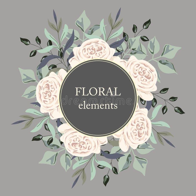 Поздравительную открытку с розами, акварель, можно использовать как карточка приглашения на wedding, день рождения и другой празд иллюстрация штока