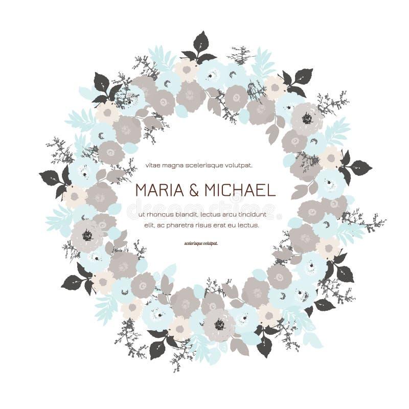 Поздравительную открытку с розами, можно использовать как карта приглашения для свадьбы, дня рождения и других праздника и предпо иллюстрация вектора