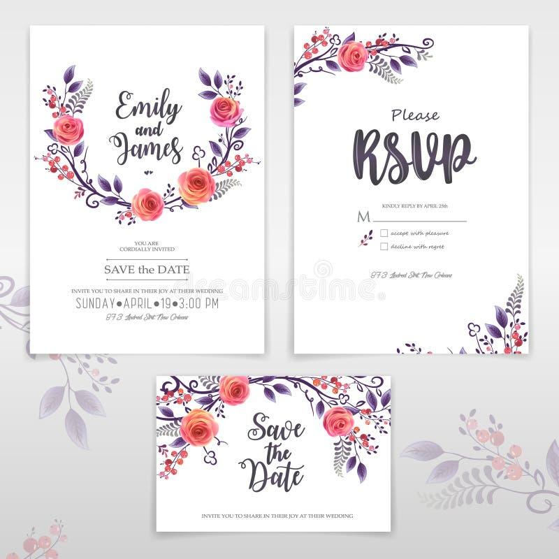 Поздравительные открытки вектора с розами и ягодами, можно использовать как карта приглашения на свадьба, день рождения и другой  иллюстрация штока